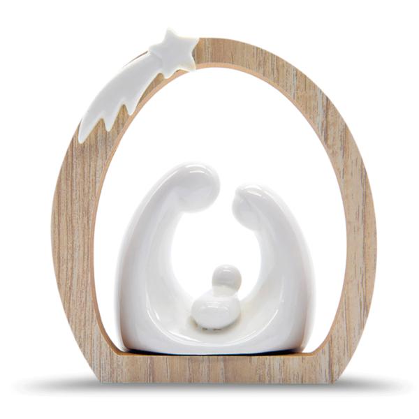 Nacimiento de porcelana y madera