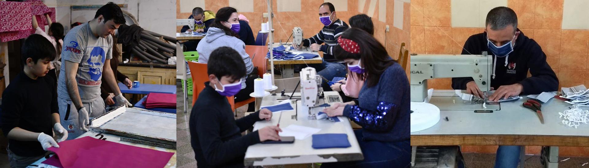 Fabricación de mascarillas Don Bosco en el corazón de Alepo para prevenir los contagios por coronavirus