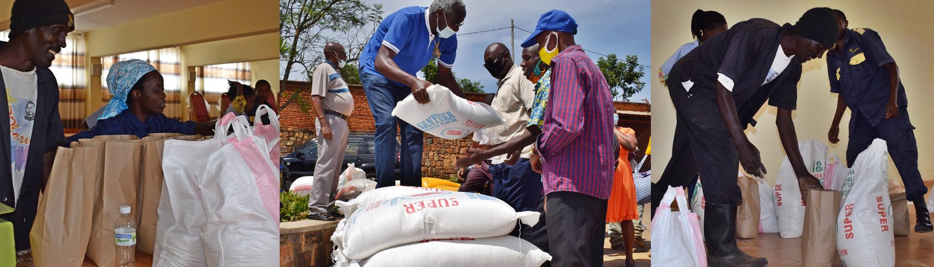 Reparto de comida en los centros juveniles salesianos de Ruanda para los más afectados por la pandemia