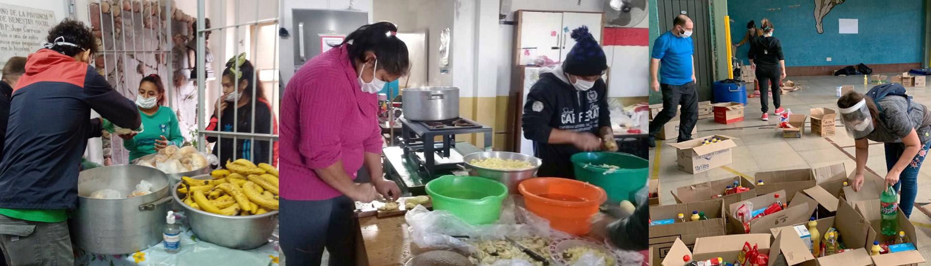 Largas filas para recoger comida en los comedores sociales salesianos de Argentina