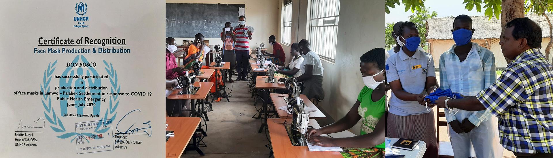 ACNUR reconoce el trabajo de los misioneros salesianos con los refugiados para confeccionar mascarillas en Palabek