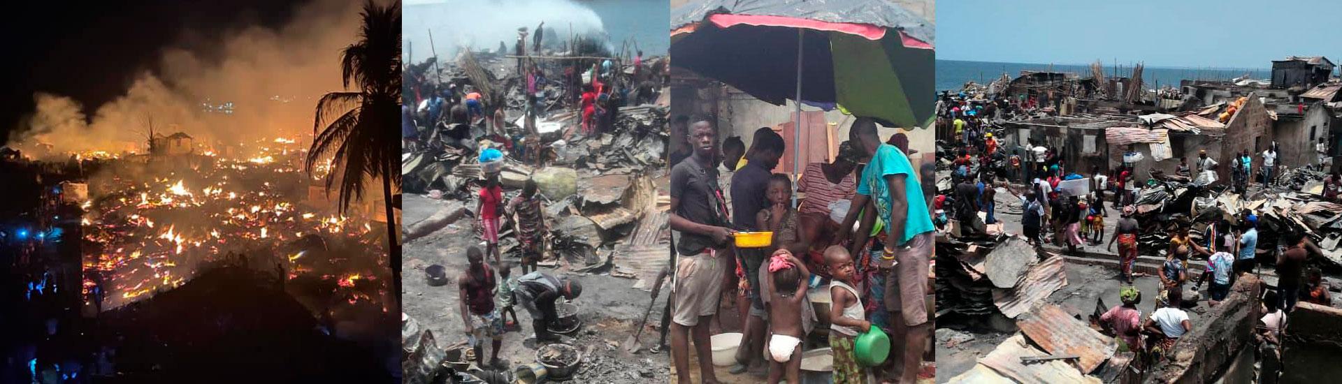 Ayuda urgente para cientos de menores que han perdido su hogar en el incendio de un suburbio en Freetown