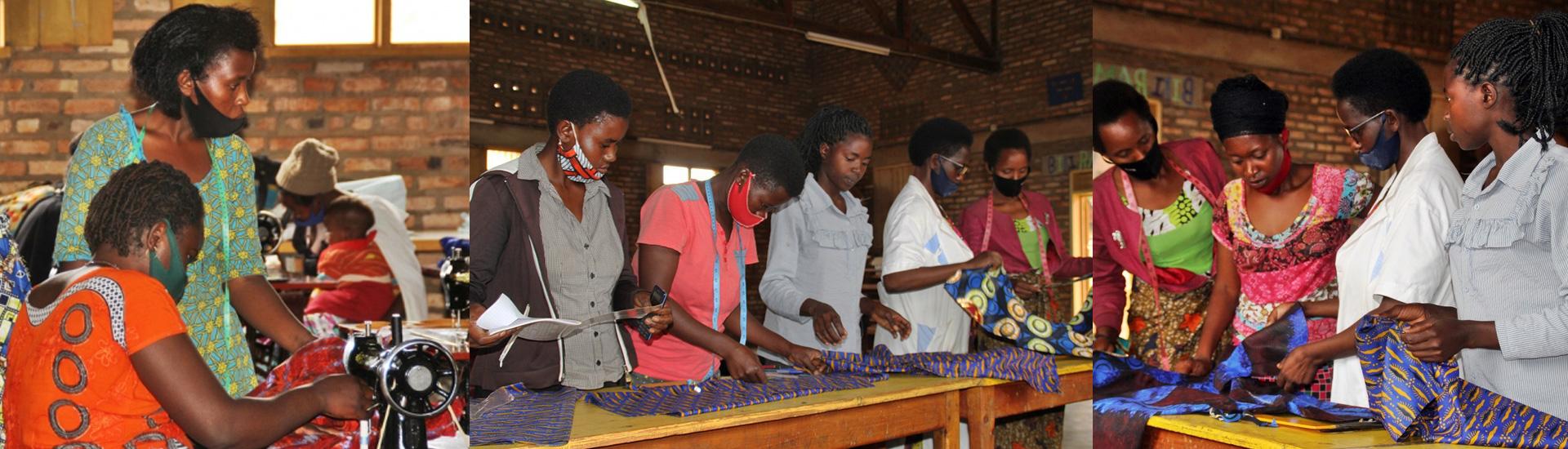 Madres solteras emprendedoras en Ruago (Ruanda) gracias a los talleres de formación como modistas